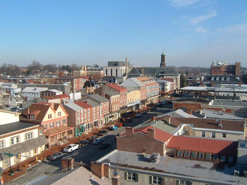 Aerial shot of Westchester, PA neighborhood | Pennsylvania radon levels | Radon-Rid