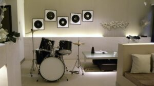 finished basement with drums and entertainment area- radon gas