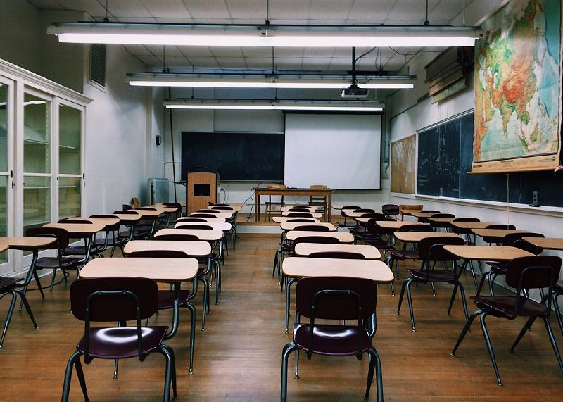 Empty classroom, local efforts to reduce radon, Keystone ETS
