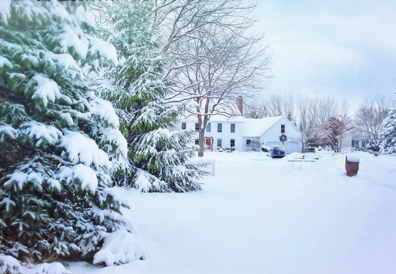 House covered in snow, radon levels higher in winter, Keystone ETS