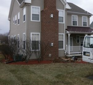 radon remediation van in front of home - Short term radon testing vs. long term testing Keystone ETS LLC