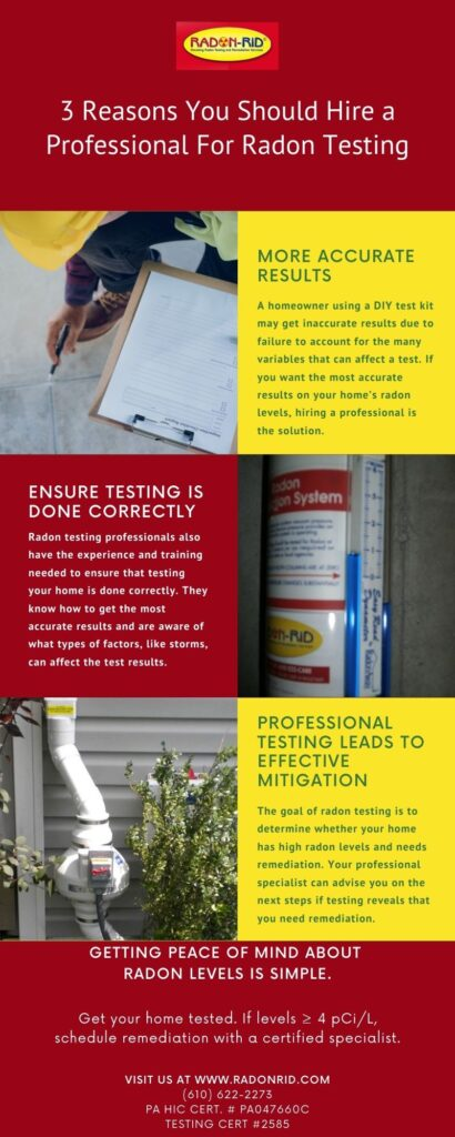 Infographic with 3 Reasons You Should Hire a Professional for Radon Testing - Radon-Rid LLC